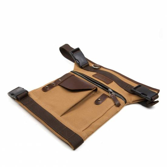 SACOCHE JAMBE TOILE CUIR MARRON